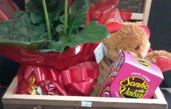Cesta rústico gerbera chocolate e urso